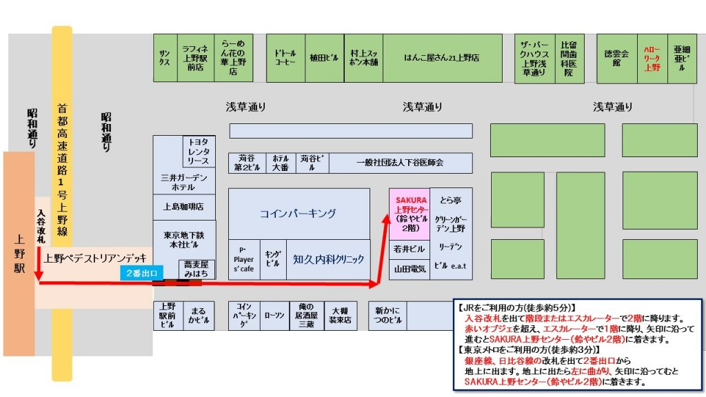 上野駅からの地図